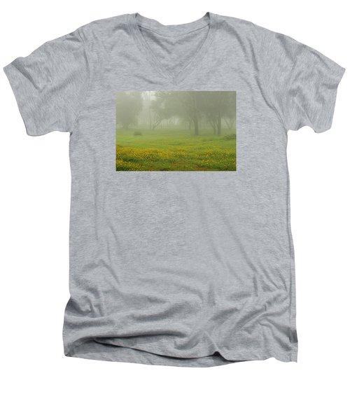 Skc 0835 Romance In The Meadows Men's V-Neck T-Shirt by Sunil Kapadia