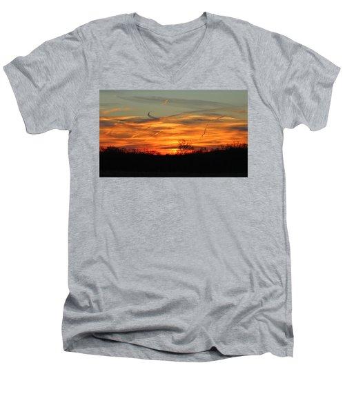 Sky At Sunset Men's V-Neck T-Shirt by Cynthia Guinn