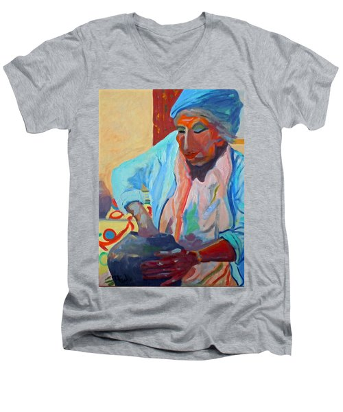 Men's V-Neck T-Shirt featuring the painting Sky City - Marie by Francine Frank