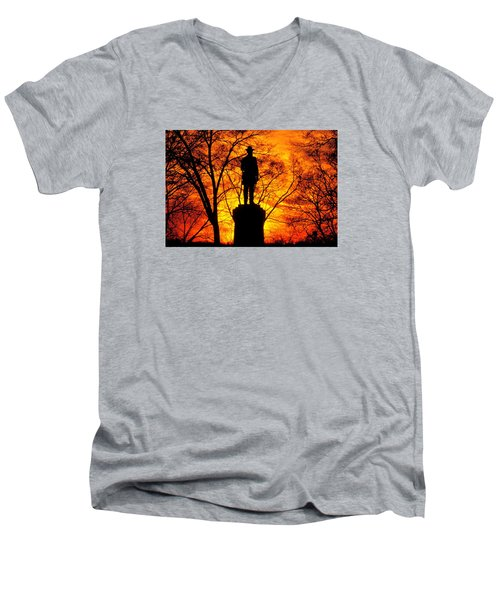 Sky Fire - Flames Of Battle 50th Pennsylvania Volunteer Infantry-a1 Sunset Antietam Men's V-Neck T-Shirt