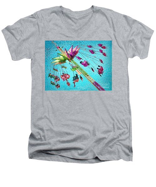 Men's V-Neck T-Shirt featuring the digital art Sky Flyer by Jennie Breeze