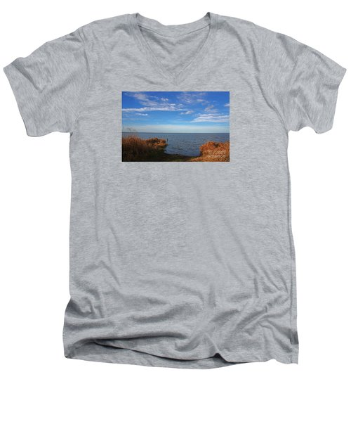 Men's V-Neck T-Shirt featuring the photograph Sky Water And Grasses by Nareeta Martin