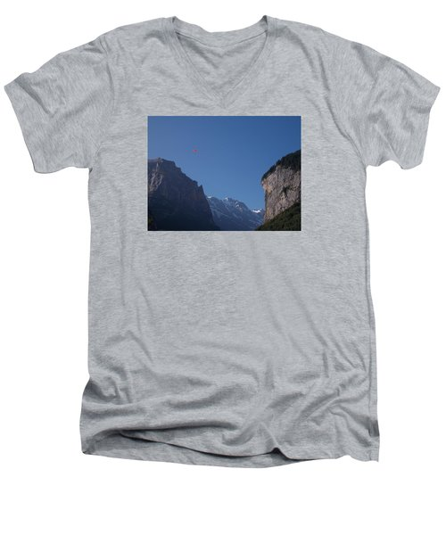 Skydiver Over Lauterbrunnen Men's V-Neck T-Shirt
