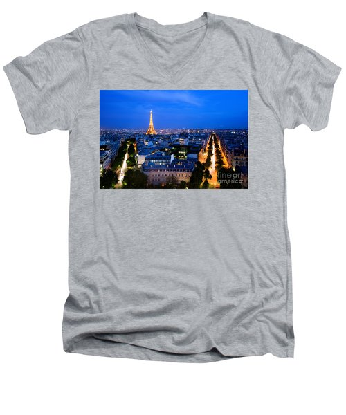 Skyline Of Paris Men's V-Neck T-Shirt by Michal Bednarek