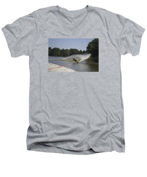 Slalom Waterskiing Men's V-Neck T-Shirt by Venetia Featherstone-Witty