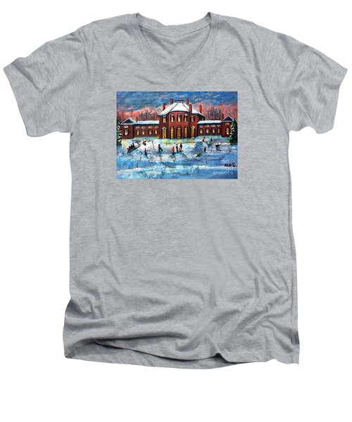 Sledding At The Gore Estate Men's V-Neck T-Shirt by Rita Brown