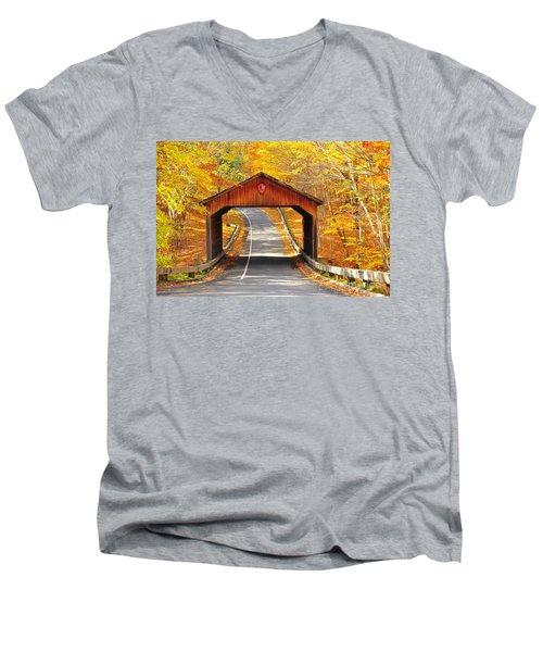 Sleeping Bear National Lakeshore Covered Bridge Men's V-Neck T-Shirt by Terri Gostola