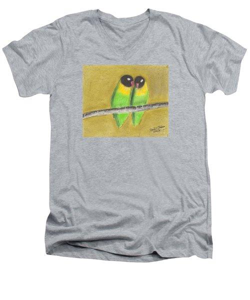 Men's V-Neck T-Shirt featuring the pastel Sleeping Love Birds by David Jackson