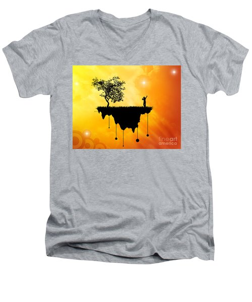 Men's V-Neck T-Shirt featuring the digital art Slice Of Earth by Phil Perkins