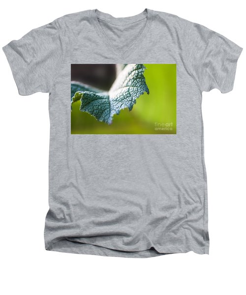 Men's V-Neck T-Shirt featuring the photograph Slice Of Leaf by John Wadleigh