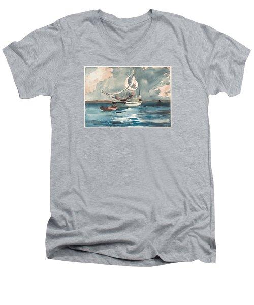 Sloop  Nassau Bahamas Men's V-Neck T-Shirt by Winslow Homer