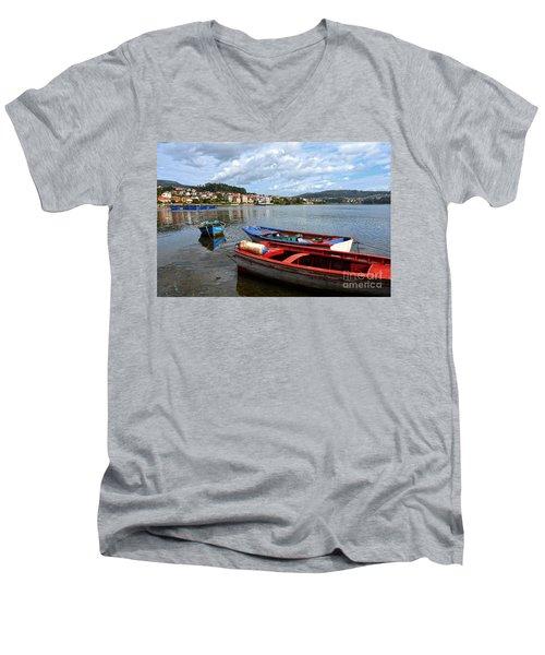 Small Boats In Galicia Men's V-Neck T-Shirt