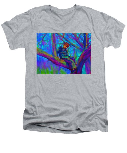 Small Boy In Large Tree Men's V-Neck T-Shirt by Hidden  Mountain