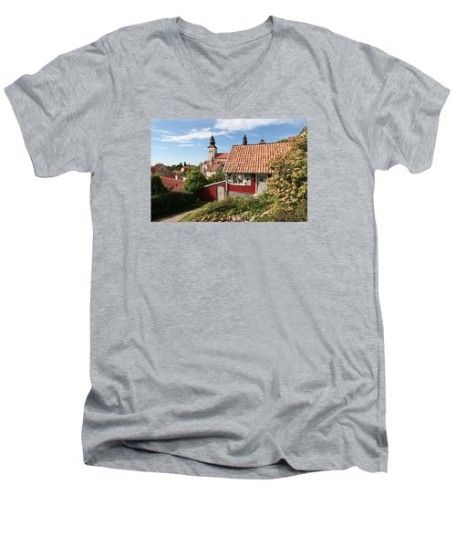 Men's V-Neck T-Shirt featuring the photograph Small Cottage In Medieval Town by Dreamland Media