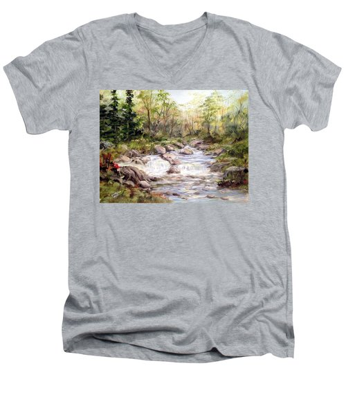 Men's V-Neck T-Shirt featuring the painting Small Falls In The Forest by Dorothy Maier