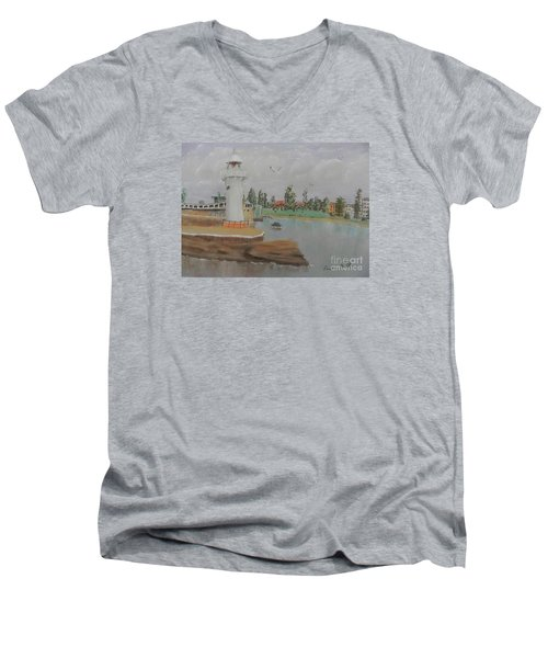 Small Lighthouse At Wollongong Harbour Men's V-Neck T-Shirt by Pamela  Meredith
