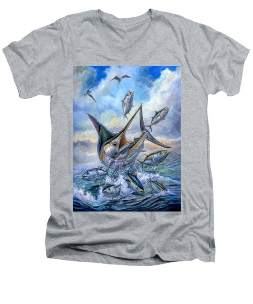 Small Tuna And Blue Marlin Jumping Men's V-Neck T-Shirt