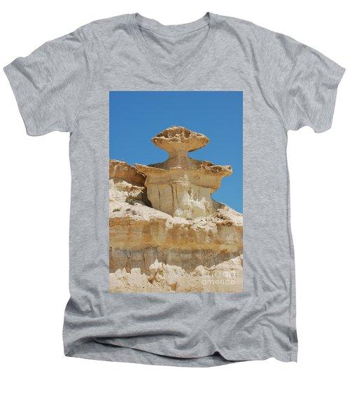 Smiling Stone Man Men's V-Neck T-Shirt by Linda Prewer