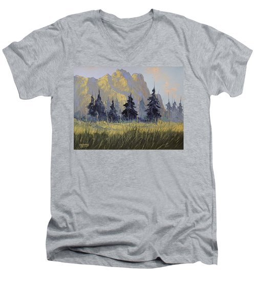 Men's V-Neck T-Shirt featuring the painting Smith Rock Oregon by Richard Faulkner