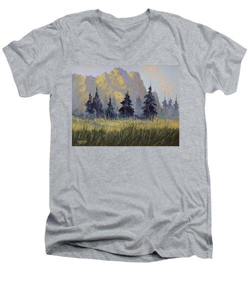 Smith Rock Oregon Men's V-Neck T-Shirt by Richard Faulkner