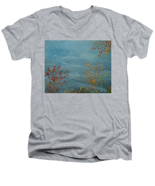 Smoky Mountains In Autumn Men's V-Neck T-Shirt by Judith Rhue