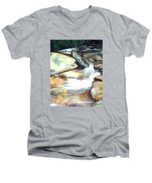 Smoky Mountains Waterfall Men's V-Neck T-Shirt by Patricia Griffin Brett