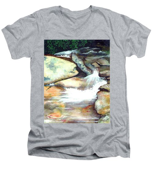 Smoky Mountains Waterfall Men's V-Neck T-Shirt