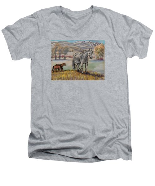 Smoky The Mustang -- In Honor Men's V-Neck T-Shirt by Dawn Senior-Trask