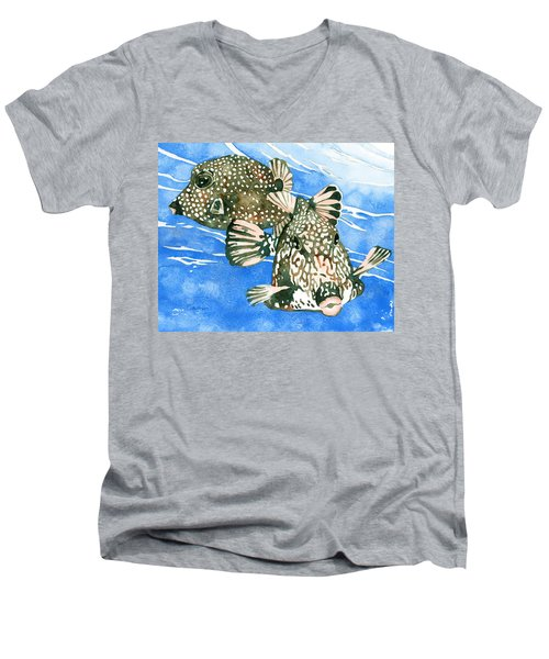 Smooth Trunkfish Pair Men's V-Neck T-Shirt