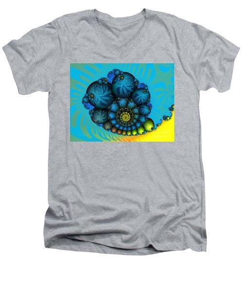 Snail Mail-fractal Art Men's V-Neck T-Shirt by Karin Kuhlmann