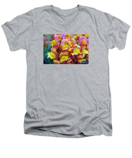 Men's V-Neck T-Shirt featuring the photograph Snapdragons by Cassandra Buckley