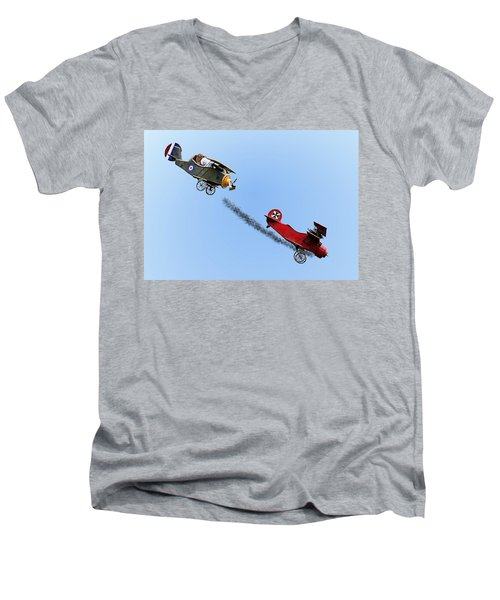 Snoopy And The Red Baron Men's V-Neck T-Shirt