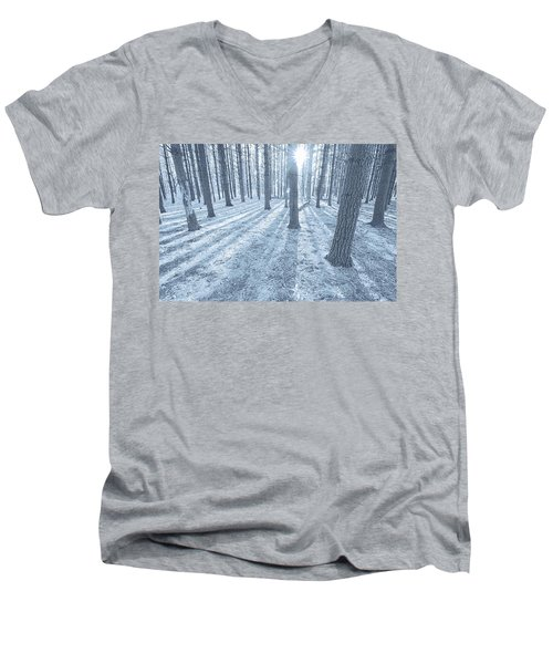 Men's V-Neck T-Shirt featuring the photograph Snow Amongst The Pines by John Hansen