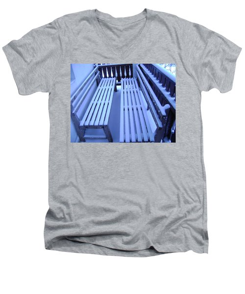 Snow Covered Bench Men's V-Neck T-Shirt