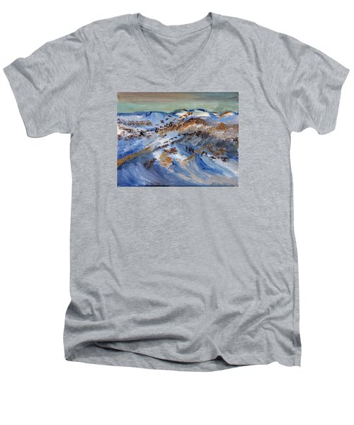 Men's V-Neck T-Shirt featuring the painting Snow Covered Sand Dunes Of Cape Cod by Michael Helfen