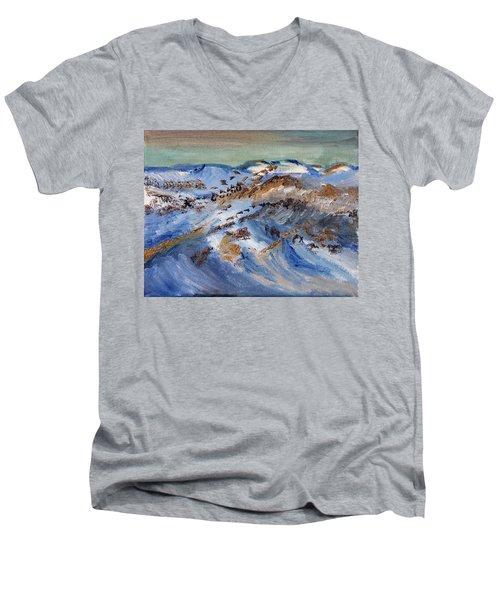 Snow Covered Sand Dunes Of Cape Cod Men's V-Neck T-Shirt