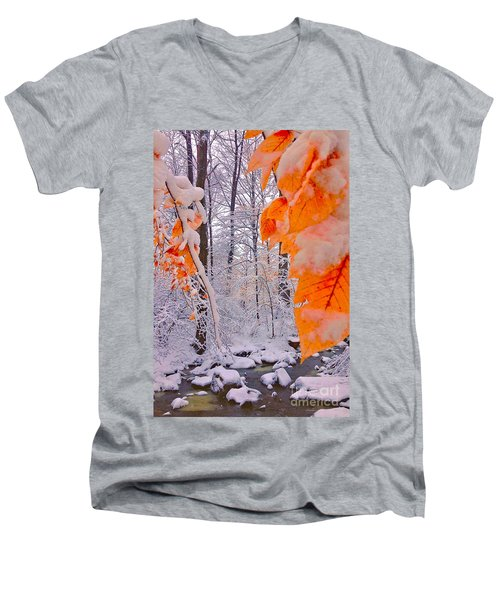 Snow Covered Woods And Stream Men's V-Neck T-Shirt