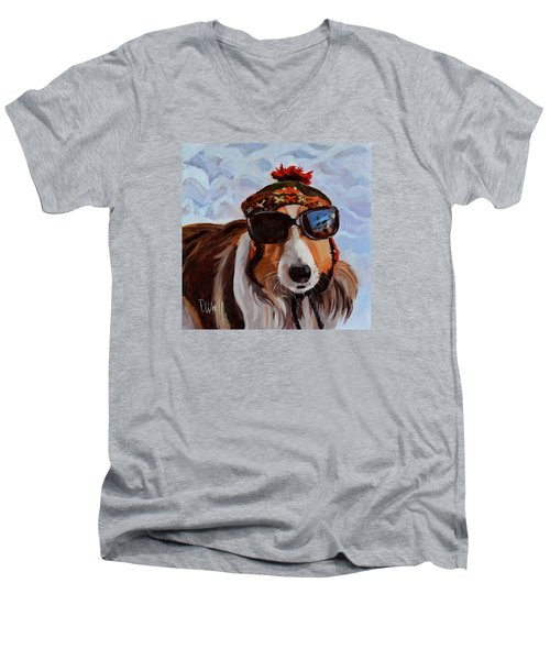 Snow Dog Men's V-Neck T-Shirt by Pattie Wall