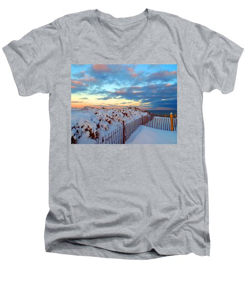 Snow Dunes At Sunrise Men's V-Neck T-Shirt