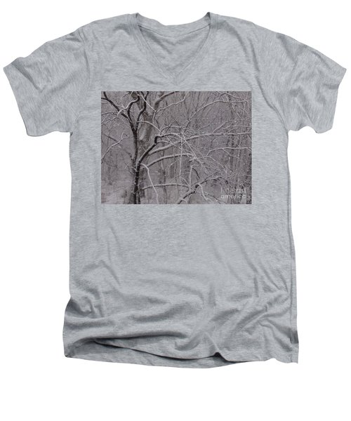 Snow In The Trees At Bulls Island Men's V-Neck T-Shirt