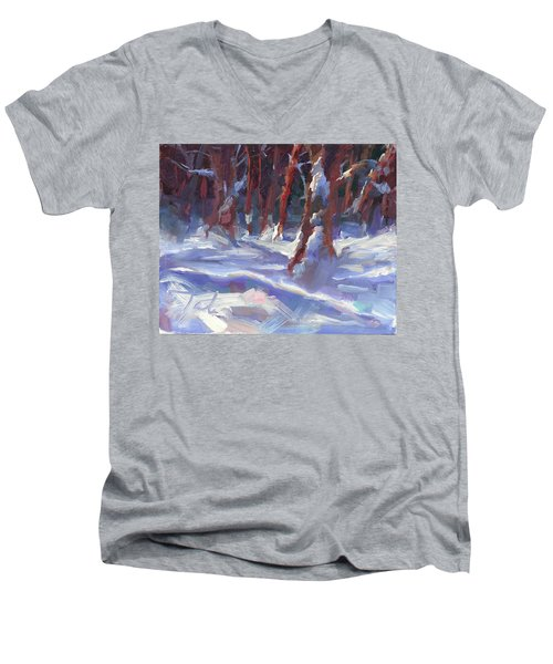Snow Laden - Winter Snow Covered Trees Men's V-Neck T-Shirt