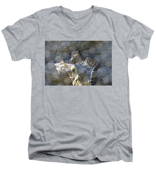 Snow Leopard    No.2 Men's V-Neck T-Shirt