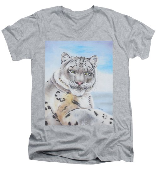 Men's V-Neck T-Shirt featuring the painting Snow Leopard by Thomas J Herring