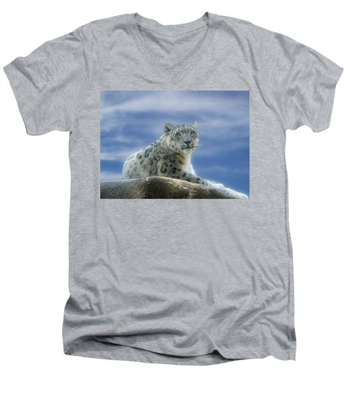 Snow Leopard Men's V-Neck T-Shirt