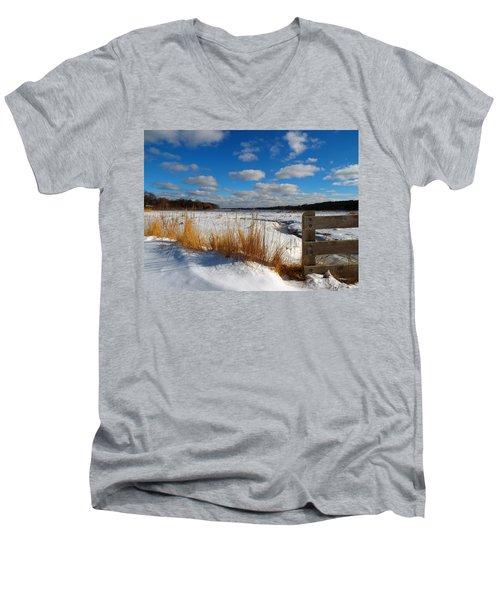 Snow Marsh Men's V-Neck T-Shirt by Dianne Cowen