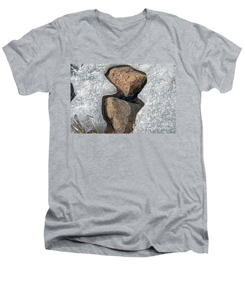 Men's V-Neck T-Shirt featuring the photograph Snow Melt 2 by Minnie Lippiatt