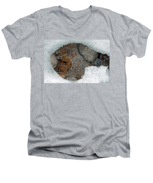 Men's V-Neck T-Shirt featuring the photograph Snow Melt 3 by Minnie Lippiatt
