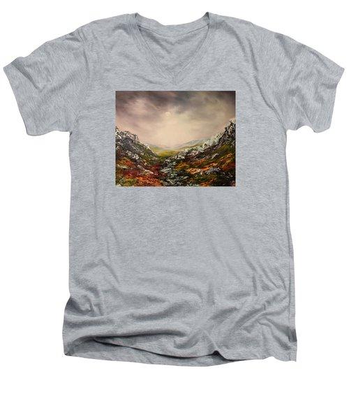 Snow On The Cairngorms Men's V-Neck T-Shirt by Jean Walker