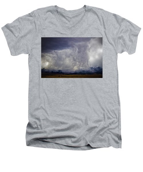 Snow On The Rockies Men's V-Neck T-Shirt by Greg Reed
