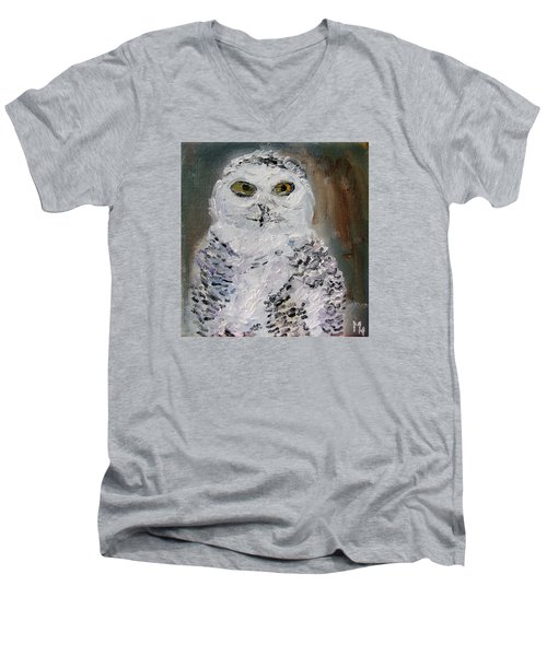 Men's V-Neck T-Shirt featuring the painting Snow Owl by Michael Helfen